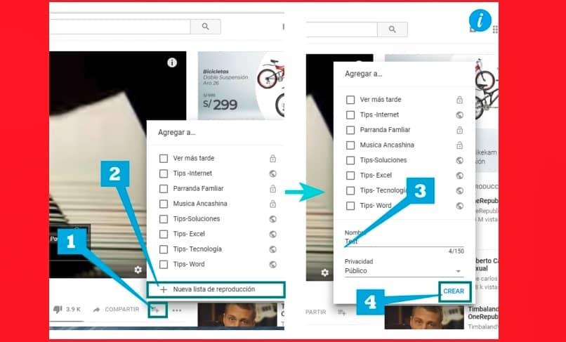 agregar videos a una lista de reproduccion desde la ventana de youtube